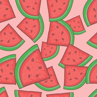 수박 과일 손으로 그려진된 벡터 일러스트 레이 션 완벽 한 패턴