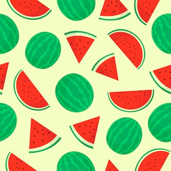 Watermelon fruit seamless pattern