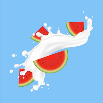Watermelon fruit and splashes of milk