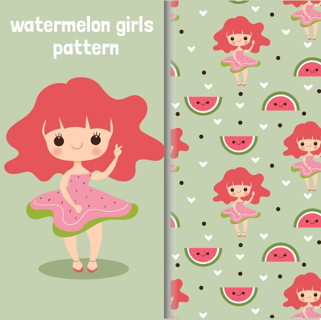 Watermelon girl character and seamless pattern
