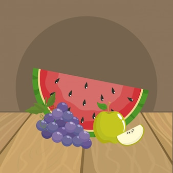 Watermelon grapes and apple