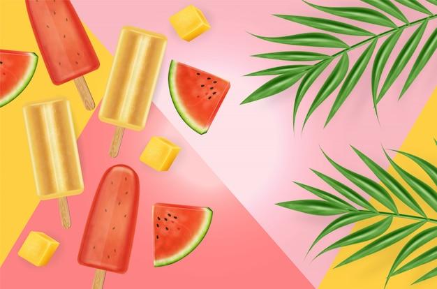 Watermelon ice cream background