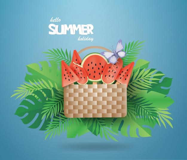 Watermelon 녹색 배경에 여름에 바구니에 아이스크림.