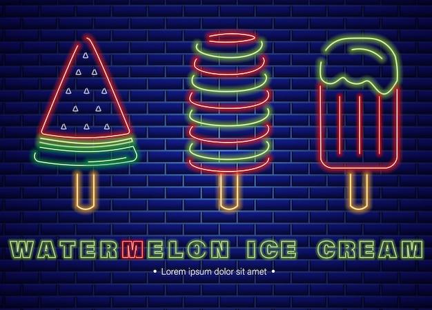 Watermelon ice cream neon