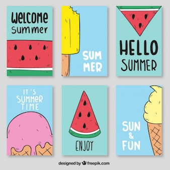 Watermelon and ice cream posters Free Vector
