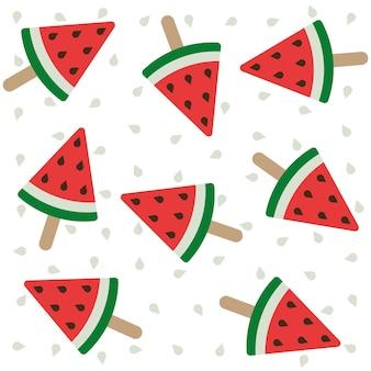 Watermelon ice cream on a stick summer seamless pattern design fun summertime background