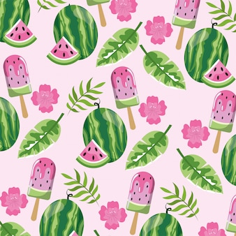 Watermelon ice lolly and leaves background