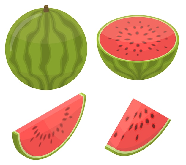 Watermelon icons set, isometric style