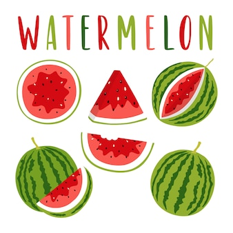 Watermelon illustration set with lettering.