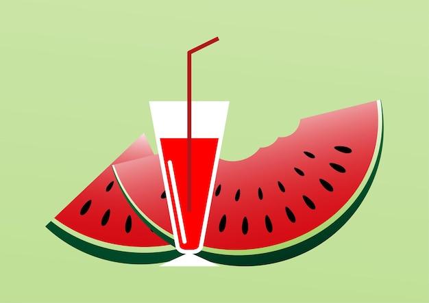 수박 주스와 수박 슬라이스, 여름 시간 배경 - 벡터 일러스트레이션.