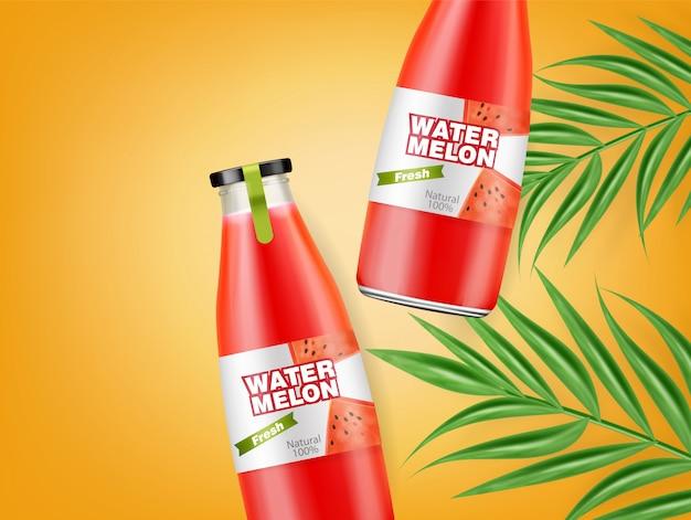 Watermelon juice bottles