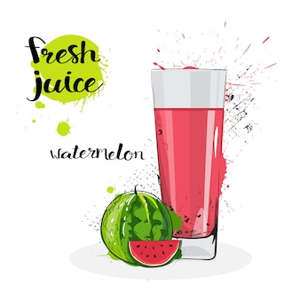Watermelon juice fresh hand drawn watercolor fruit and glass on white background