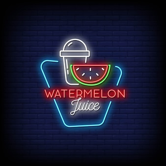 Watermelon juice neon signs style text
