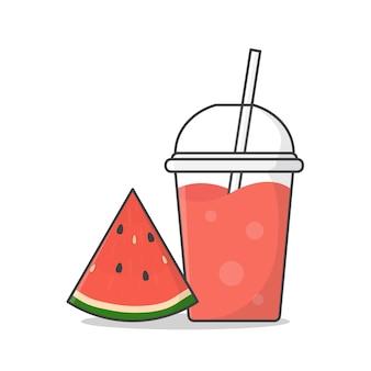 スイカジュースまたはミルクセーキテイクアウトプラスチックカップアイコンイラスト。