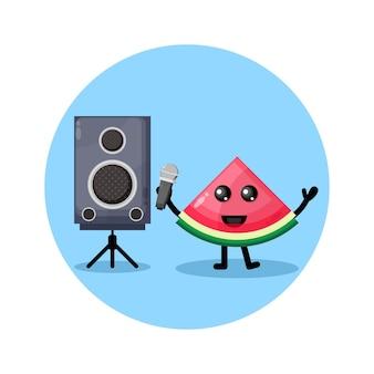 수박 노래방 귀여운 캐릭터 로고