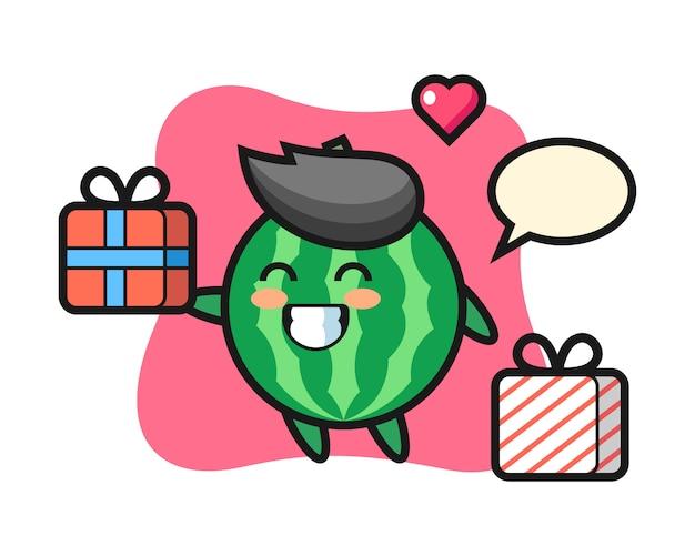 贈り物を与えるスイカマスコット漫画