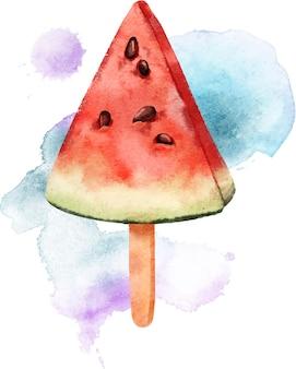 Арбуз на палочке, нарисованный акварелью