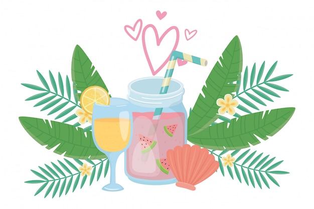 Watermelon and orange juice drink