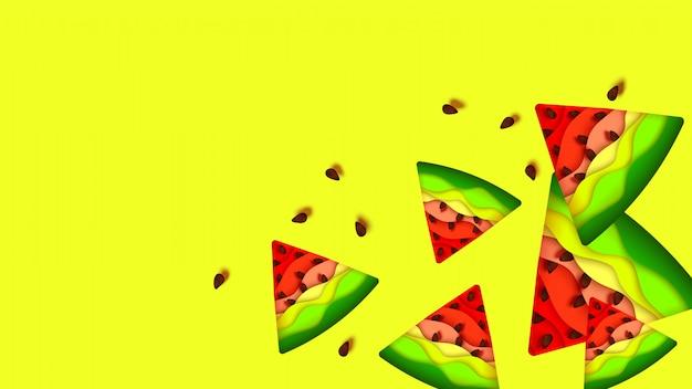 Watermelon paper cut summer background