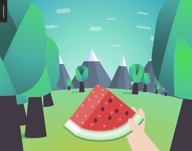 Watermelon, picnic in a forest