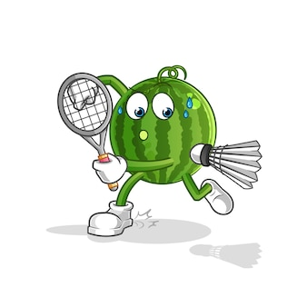 Watermelon playing badminton cartoon mascot