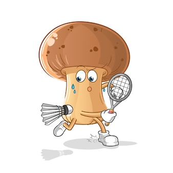 Watermelon playing badminton illustration. character