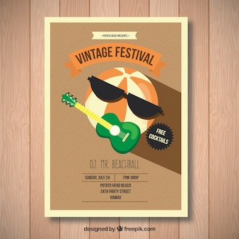 A watermelon playing guitar, vintage festival