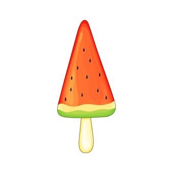 Иллюстрация эскимо арбуза, плоский стиль иконок мороженого. - вектор.