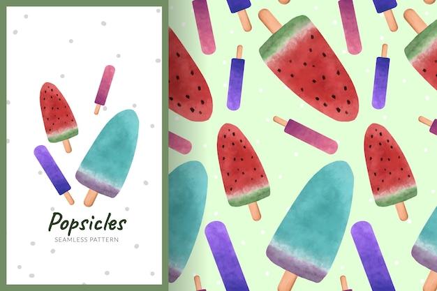 スイカアイスキャンディーイラストシームレスパターン