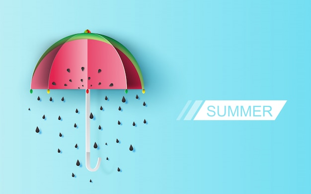 Watermelon rain seeds on blue background.