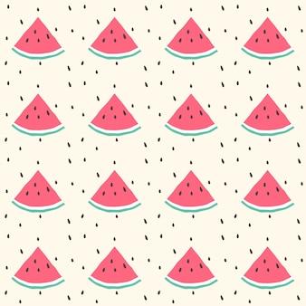 수박 원활한 패턴 배경 디자인, 귀여운 원활한 수박 패턴, 여름 배경