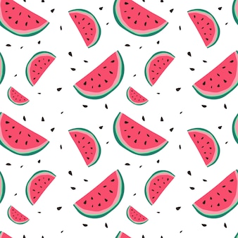 Watermelon seamless pattern colorful summer ornament background style