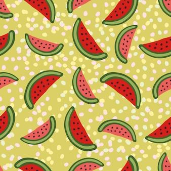 Watermelon seamless pattern on green background