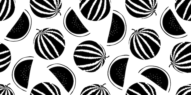 Watermelon seamless pattern. hand drawn fruit illustration. Premium Vector