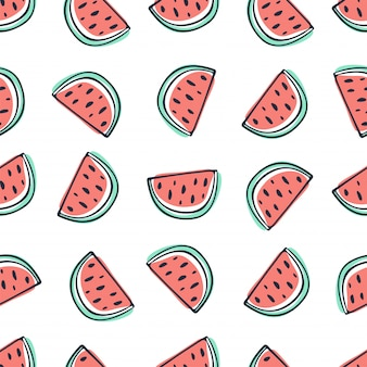Watermelon seamless pattern in sketchy style on white background