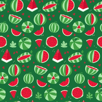 Watermelon seamless pattern whole striped watermelon and red slices with seeds on a green background...
