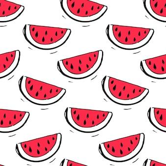 손으로 그린 삽화가 있는 수박 원활한 패턴입니다. 여름 텍스처입니다.