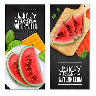 Watermelon servings realistic vertical banners with juicy triangle wedges on cutting board