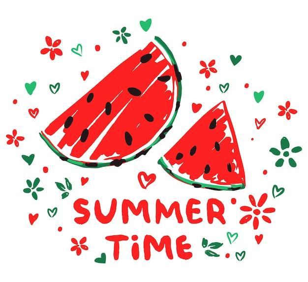수박 스케치 여름 시간