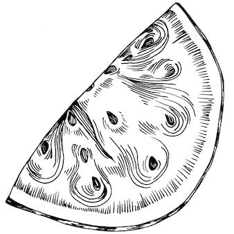 スイカスケッチベクトル描画。白い背景の上の孤立した手描きのベリー。夏のベリーの刻まれたスタイルのイラスト。食品包装の装飾。