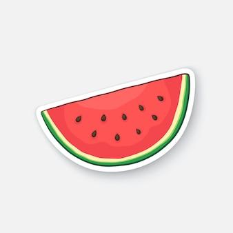 수박 슬라이스 과일 소엽 유기농 식품 건강한 채식 음식 벡터 일러스트 레이 션