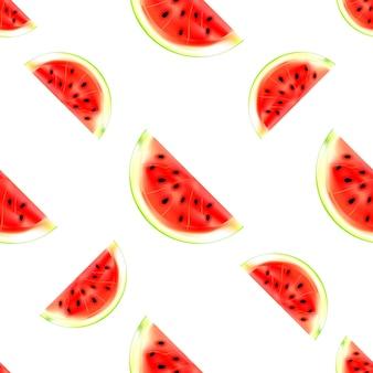수박 조각 완벽 한 패턴입니다. 흰색 배경에 고립 된 여름 과일의 벡터 일러스트 레이 션. 섬유, 패턴 채우기, 질감 또는 선물 포장 및 월페이퍼에 인쇄하는 데 사용할 수 있습니다.