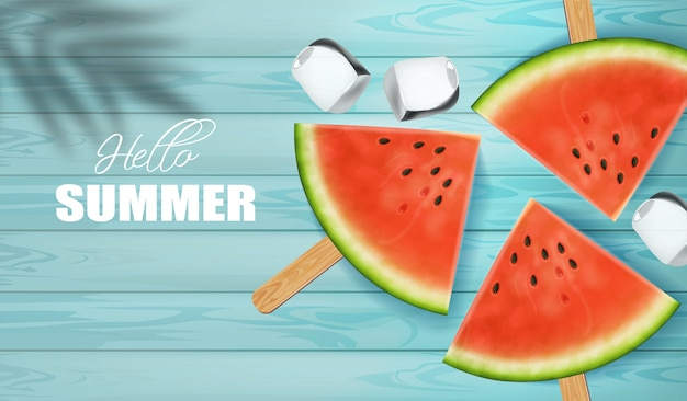 Watermelon slices with hello summer background
