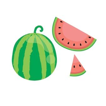 평면 그림에서 수박 여름 과일