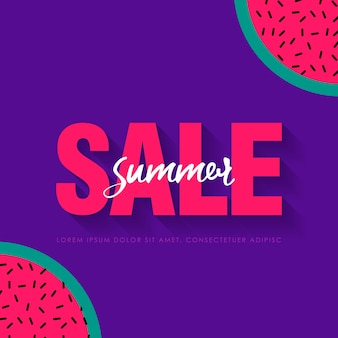 Watermelon super summer sale banner template. origami juicy ripe watermelon slices. healthy food on purple. summertime.  illustration