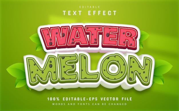 Watermelon text effect cartoon style