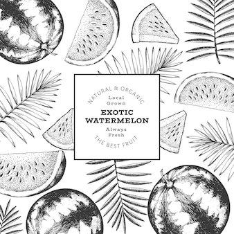 Watermelon and tropical leaves design template. hand drawn vector exotic fruit illustration. engraved style fruit frame. retro botanical banner.