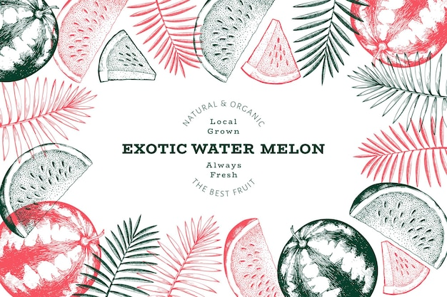 Watermelon and tropical leaves design template