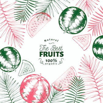 Watermelon and tropical leaves design