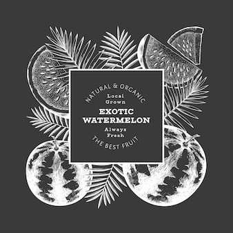 Watermelon and tropical leaves label template.